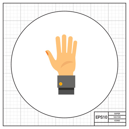 nonverbal: Human palm. Showing, greeting, nonverbal. Gesture concept. Can be used for topics like gestures, nonverbal communication, management. Illustration