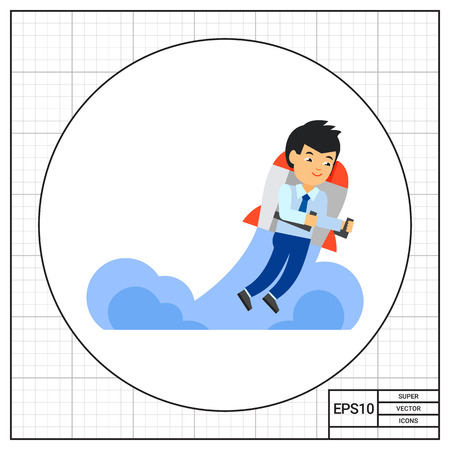innovative concept: Man flying on innovative aerial vehicle. Creativity, machine, invention. Innovation technology concept. Can be used for topics like business, technology, science, transport. Illustration