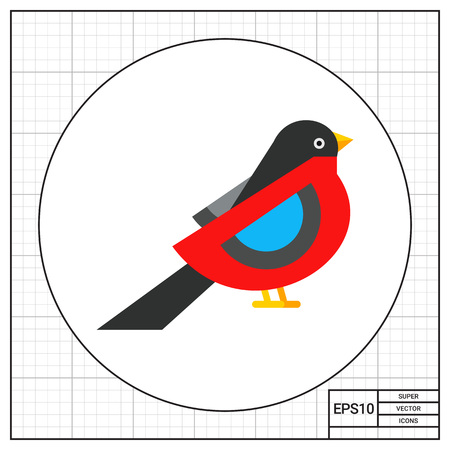 zoology: Bullfinch. Animal, nature, beautiful. Winter bird concept. Can be used for topics like Christmas, New Year, zoology. Illustration