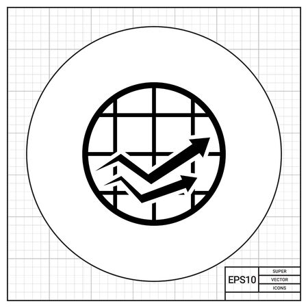 checked: Icon of growing line graphs in checked circle Illustration