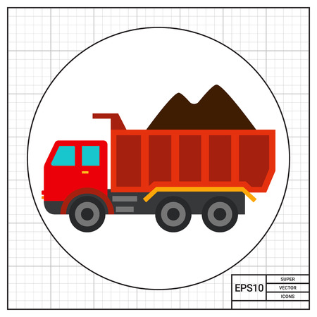dumping: Multicolored vector icon of loaded dump truck