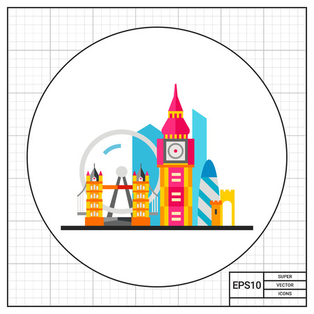 London attractions. Sightseeing, famous, construction. London concept. Can be used for topics like England, tourism, architecture.