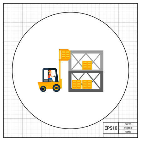 driven: Warehouse and forklift driven by man. Transportation, storage, service. Logistics warehouse concept. Can be used for topics like transport, delivery, logistics, business.