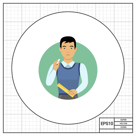 blank expression: Male character, portrait of young Asian male teacher