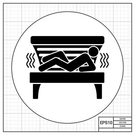 solarium: Man lying in solarium tanning bed. Heat, light, tan. Solarium concept. Can be used for topics like tanning, lifestyle, technology. Illustration