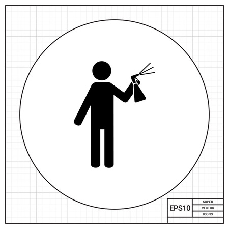 insect control: Man spraying liquid from bottle with sprayer into air. Air freshener, insecticide, paint. Spray concept. Can be used for topics like insect control, agriculture, household chemicals.