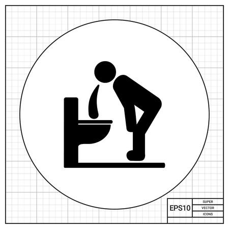 the vomiting: El hombre inclinado sobre inodoro y vómitos. La enfermedad, intoxicación, dolor de estómago. Vómitos concepto. Puede ser utilizado para temas como la salud, la medicina, dietología.