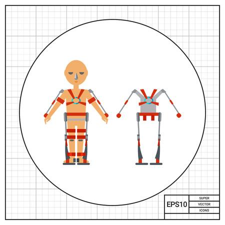 exoskeleton: Exoskeleton and man wearing exoskeleton. Improvement, future, strength. Exoskeleton concept. Can be used for topics like military technology, electronics, science, medicine, robotics. Illustration