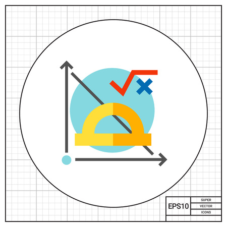coordinate: Graph, protractor and math formula on blue circle background. Subject, function, coordinate plane. Math formula concept. Can be used for topics like study, teaching, education, mathematics.