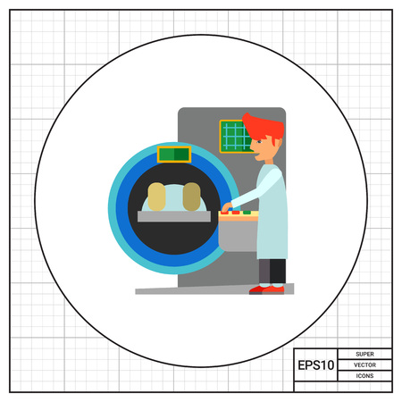tomograph: Tomograph, patient and operator. Hospital, examination, equipment. Medical diagnostics concept. Can be used for topics like medicine, health, technology, healthcare. Illustration