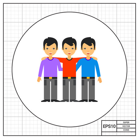 cohesion: Three embracing and smiling men. Friendship, unity, partnership. Team collaboration concept. Can be used for topics like business, management, relationships. Illustration
