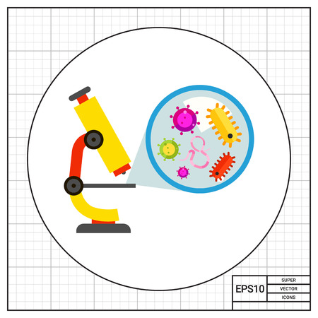 bacteria microscope: Illustration of microscope and zoom picture of bacteria. Laboratory, science, viewing microorganism. Science concept. Can be used for topics like biology, science, laboratory experiment Illustration