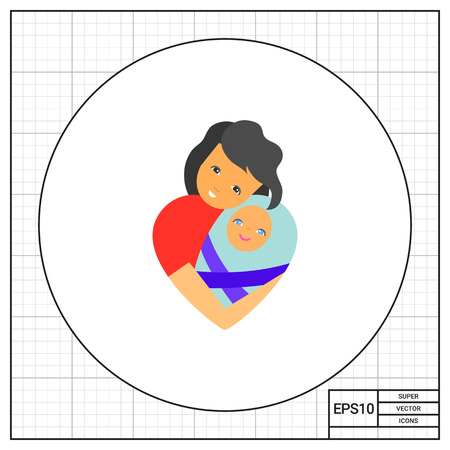 affection: Mother embracing baby. Feeling, family, affection. Mother love concept. Can be used for topics like love, romance, relations, psychology.