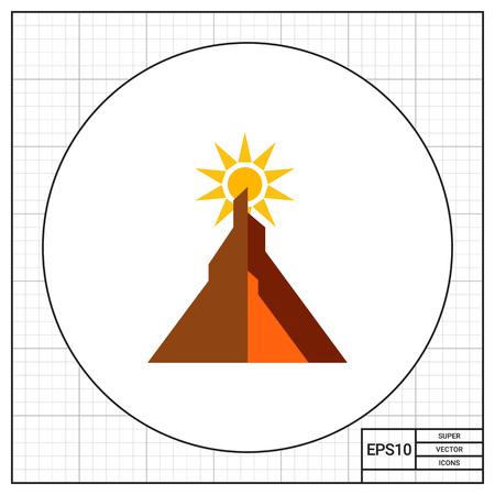 太陽が山の後ろに避けの色とりどりのベクトルのアイコン