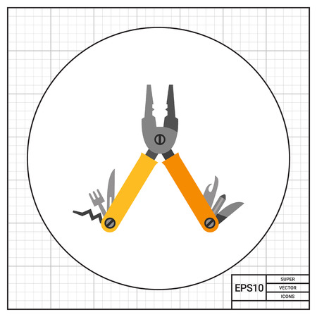 Folding multi tool. Pliers, can opener, fork, two blades, screwdriver, corkscrew. Multi tool concept. Can be used for topics like instrument, camping, tourism