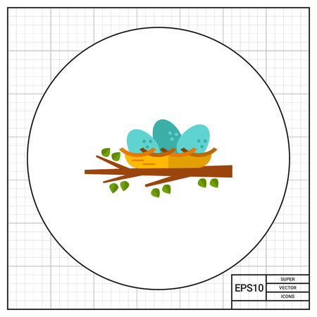 straw twig: Multicolored vector icon of nest with three eggs on tree branch