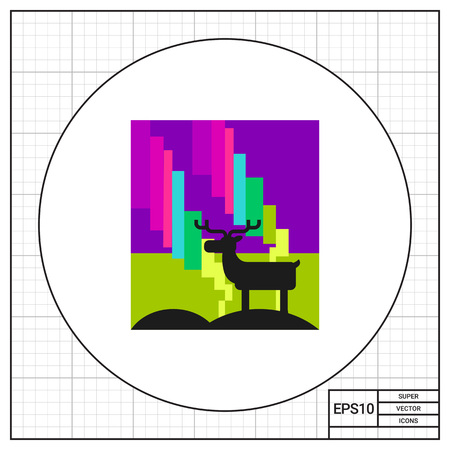 polaris: Bright northern lights and standing reindeer. Sky, cold, phenomenon. Northern lights concept. Can be used for topics like nature, north, marketing. Illustration