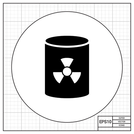 radiation sign: Icon of barrel with radiation sign