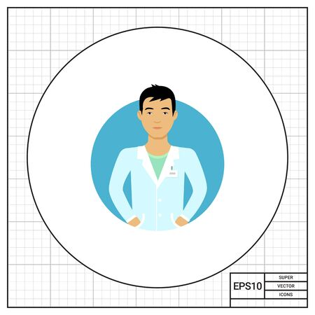 blank expression: Male character, portrait of young Asian nurse man Illustration