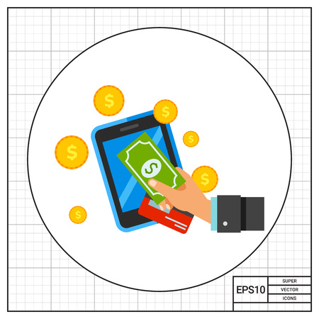 technology transaction: Smartphone, hand holding dollar banknote, card, coins. Money, Internet, transaction. Online payments concept. Can be used for topics like finance, business, technology, banking.