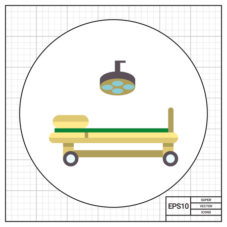 operating table: Multicolored vector icon of operating table and lamp Illustration