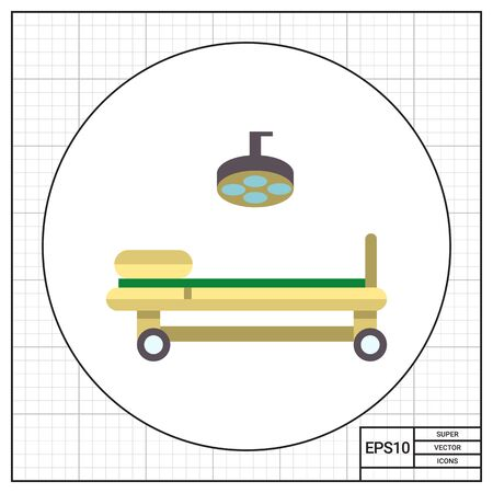 operating table: Multicolored vector icon of operating table and lamp Stock Photo