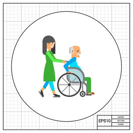 assisted: Old man in wheelchair assisted by nurse. Disability, senility, aid. Care of the old concept. Can be used for topics like disability, equipment, medicine.