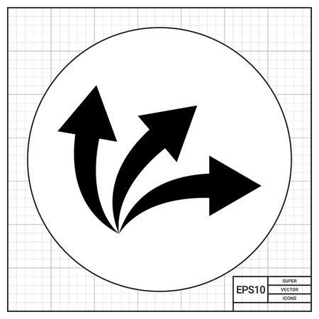 flechas curvas: Tres flechas curvas. Oportunidad, opción, el riesgo. Opciones concepto. Puede ser utilizado para temas como negocios, administración, planificación.