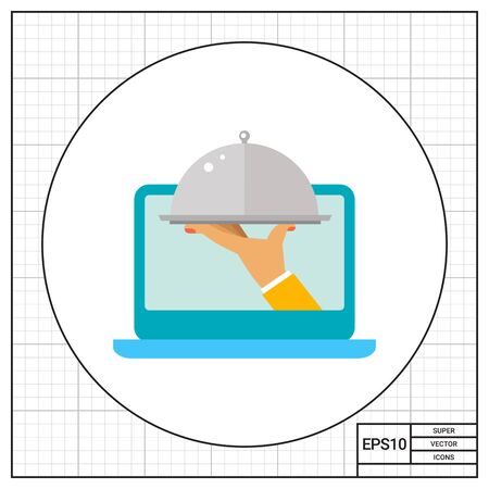 ordering: Hand holding food under dome cover and emerging out of laptop screen. Service, online, fast. Ordering food concept. Can be used for topics like delivery, technology, business.