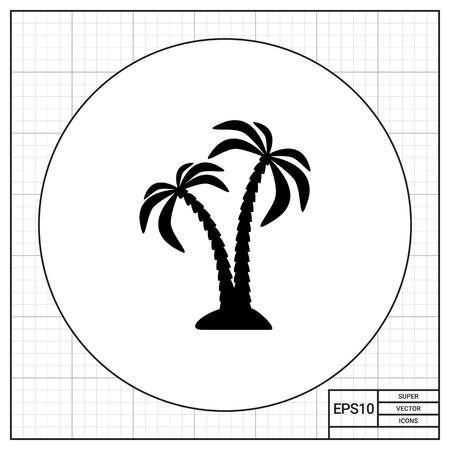 islet: Pair of coconut palms on islet. Summer, resort, tropical. Palm concept. Can be used for topics like botany, nature, tourism.
