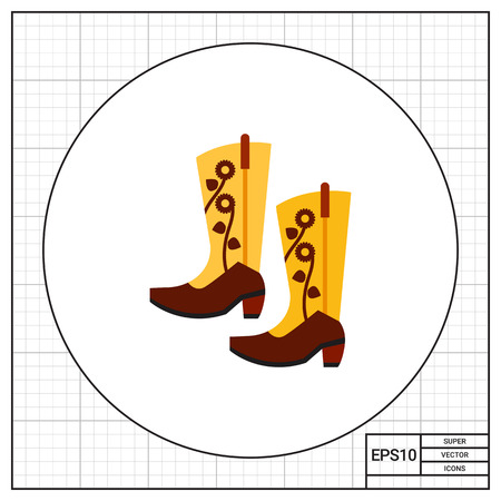 footwear: Pair of cowboy boots. Man, western, retro. Footwear concept. Can be used for topics like footwear, history, fashion.