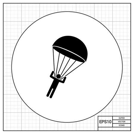 troops: Parachutist landing. Extreme, paratrooper, recreation. Parachuting concept. Can be used for topics like sport, airborne troops, entertainment.