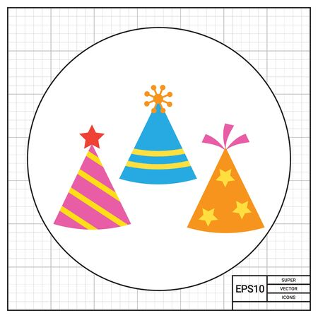Icon of tree multicolored arty hats having various design