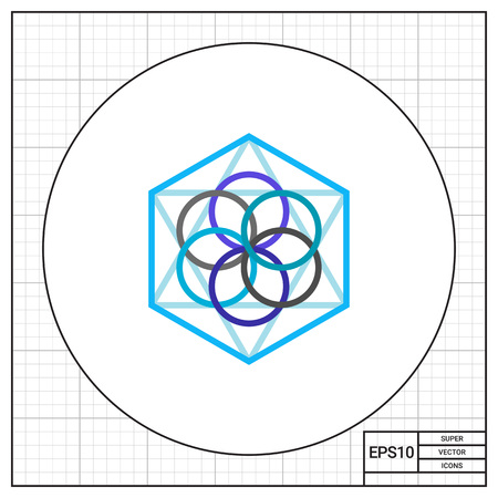 metaphysics: Abstract geometric circles and polygon elements. Philosophy, geometry, thin lines. Philosophy concept. Can be used for topics like science, philosophy, knowledge
