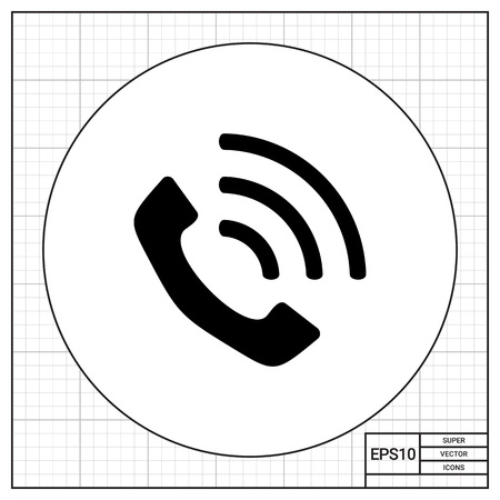 Monochrome vector icon of vintage telephone receiver