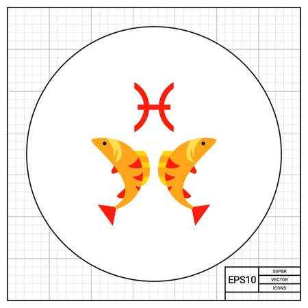 12: Pisces sign and two fishes. Forecast, horoscope, animal. Astrology concept. Can be used for topics like astrology, astronomy, zodiac. Illustration