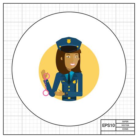 policewoman: Personaje femenino, retrato de joven mujer policía de explotación esposas asiáticas