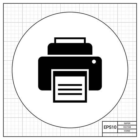 copy machine: Icon of printer printing document Illustration