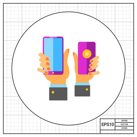 procedure: Two hands holding purple smartphones. User, sale, demand. Product placement concept. Can be used for topics like business, technology, marketing.