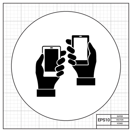 Vector icon of two man hands holding smartphones representing product placement