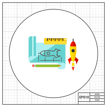 prototypical: Paper sheet with rocket draft and ruler, pencil and real rocket behind it. Sketch, innovation, creativity. Prototype concept. Can be used for topics like programming, designing, technology.