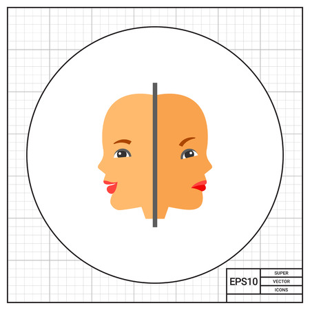 behaviorism: Two woman faces with joy and sadness expressions. Psychology, study, behavior, mind. Psychology concept. Can be used for topics like psycology, study, knowledge Illustration