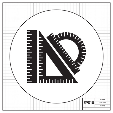 protractor: Vector icon of protractor ruler, set square, ruler Illustration