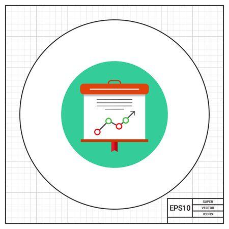 Icoon van projectiescherm met tekst en grafiek