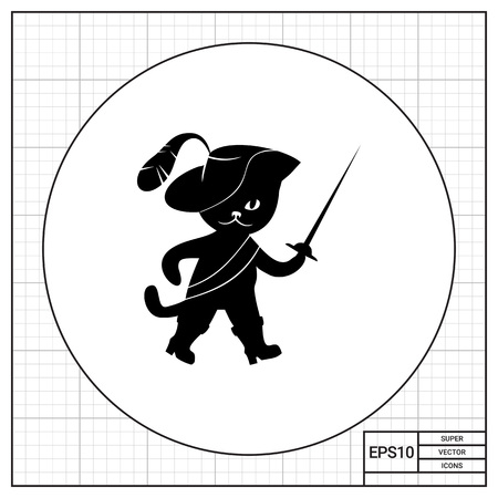 feathered: Puss in boots wearing feathered hat and holding rapier. Weapon, funny, animal. Fairytale character concept. Can be used for topics like childhood, fairytales, fiction. Illustration