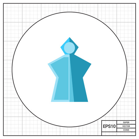 pocket size: Vector icon of blue lightweight rain poncho with hood