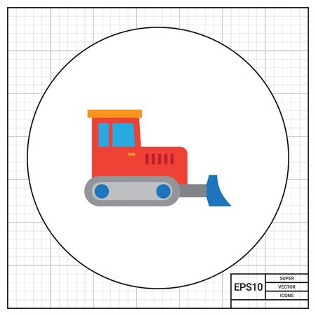 movers: Multicolored vector icon of red industrial bulldozer