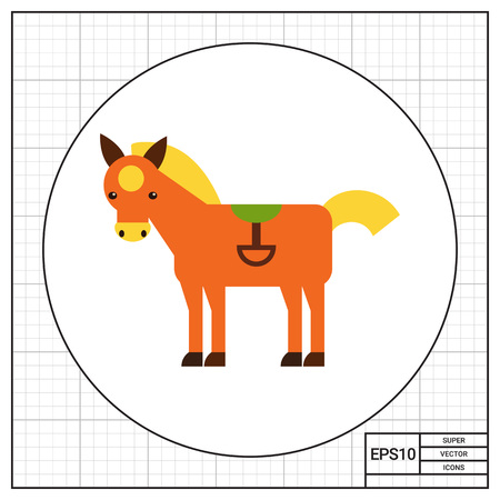 Multicolored vector icon of red horse with yellow spot wearing green saddle
