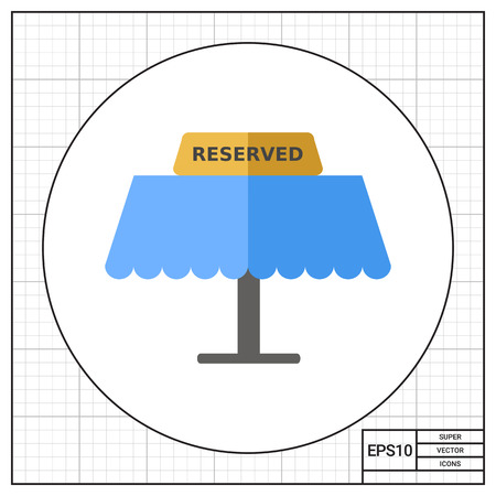 seating: Table with tablet Reserved on it. Exclusive, seating, message. Restaurant concept. Can be used for topics like cooking, restaurant business, food.
