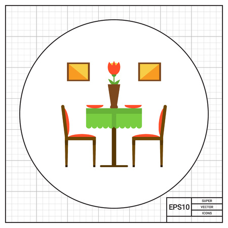 two chairs: Icon of restaurant interior including two chairs, table with flower in vase Illustration